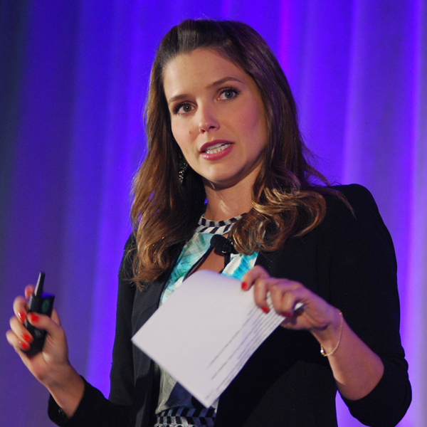 Speaker, Sophia Bush, talks to the MCON 2013 audience about the importance of fundraising.