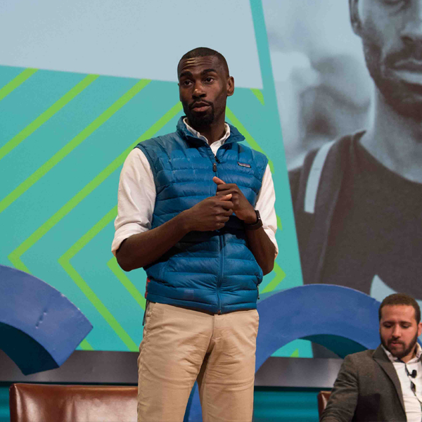 Speaker, DeRay Mckesson, speaks to the MCON audience about racial inequality and justice.
